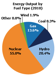 Ontario's energy output by fuel type (2010)